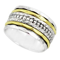 8.69gms victorian 925 silver two tone spinner band handmade ring size 9.5 r80601