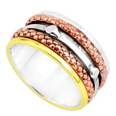6.65gms victorian 925 silver two tone spinner band handmade ring size 7.5 r80615