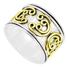 7.89gms victorian 925 silver two tone spinner band handmade ring size 8.5 r80626