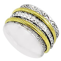 5.89gms victorian 925 silver two tone spinner band handmade ring size 7 r80526