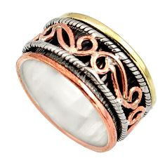 7.26gms victorian 925 silver two tone spinner band ring jewelry size 9 d47505