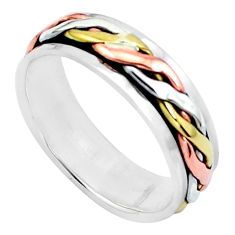 4.63gms victorian 925 sterling silver two tone spinner band ring size 8.5 c20980