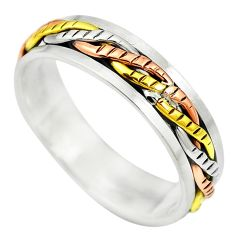 Victorian 925 sterling silver two tone spinner band ring jewelry size 9.5 c20968