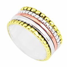7.65gms victorian 925 sterling silver two tone spinner band ring size 9.5 r80515