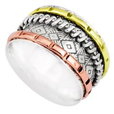 6.69gms victorian 925 sterling silver two tone spinner band ring size 8.5 r80537