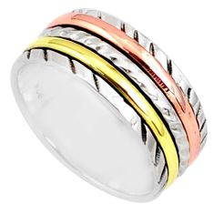 6.48gms victorian 925 sterling silver two tone spinner band ring size 9.5 r80554