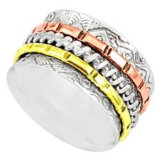 6.69gms victorian 925 sterling silver two tone spinner band ring size 7 r80502