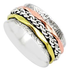 5.27gms victorian 925 sterling silver two tone spinner band ring size 6.5 t29364