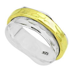 5.62gms victorian 925 sterling silver two tone spinner band ring size 7.5 t51763