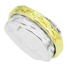 5.26gms victorian 925 sterling silver two tone spinner band ring size 7.5 t51775