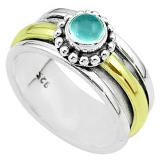 Victorian aqua chalcedony 925 silver two tone spinner band ring size 8.5 t51818
