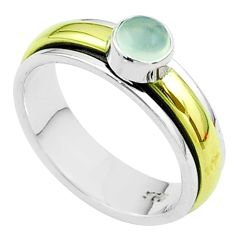 Victorian aqua chalcedony 925 silver two tone spinner band ring size 8.5 t51842