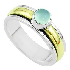 Victorian aqua chalcedony 925 silver two tone spinner band ring size 7.5 t51855