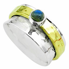 Victorian blue labradorite 925 silver two tone spinner band ring size 7 t51822