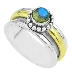 Victorian blue labradorite 925 silver two tone spinner band ring size 8 t51808