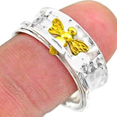 5.36gms victorian butterfly 925 silver 14k gold spinner band ring size 8 t31409