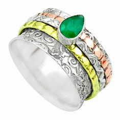 1.05cts victorian emerald 925 silver two tone spinner band ring size 7 t51678