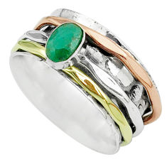 1.00cts victorian emerald 925 silver two tone spinner band ring size 8 t51626