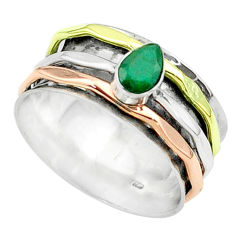 0.87cts victorian emerald 925 silver two tone spinner band ring size 8 t51632
