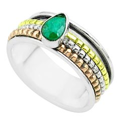 1.00cts victorian emerald 925 silver two tone spinner band ring size 9 t51590