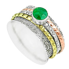 0.85cts victorian emerald 925 silver two tone spinner band ring size 7.5 t51509