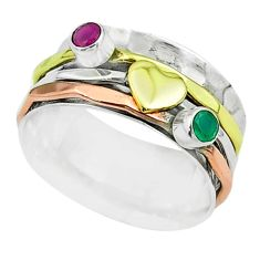 0.75cts victorian emerald 925 silver two tone spinner band ring size 8.5 t51528