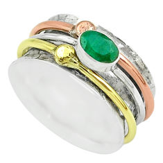 1.03cts victorian emerald 925 silver two tone spinner band ring size 8.5 t51553