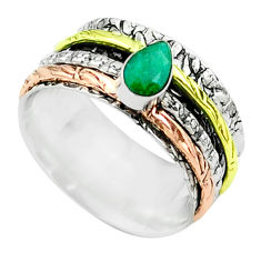 1.10cts victorian emerald 925 silver two tone spinner band ring size 7.5 t51657