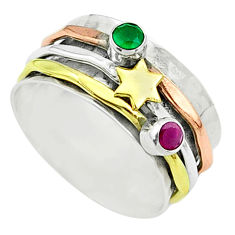 Victorian emerald ruby 925 silver two tone spinner band ring size 7.5 t51562