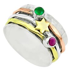 Victorian emerald ruby 925 silver two tone spinner band ring size 8.5 t51571