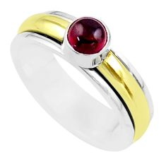 0.97cts victorian garnet 925 silver two tone spinner band ring size 8.5 t51522