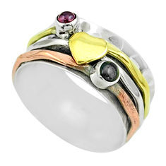 0.66cts victorian garnet 925 silver two tone spinner band ring size 7.5 t51523