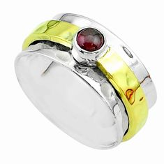 0.48cts victorian garnet 925 silver two tone spinner band ring size 7.5 t51839