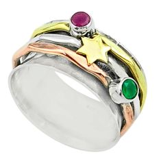 Victorian green emerald ruby silver two tone spinner band ring size 7.5 t51580