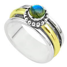 0.78cts victorian labradorite silver two tone spinner band ring size 7 t51802