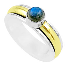 0.93cts victorian labradorite silver two tone spinner band ring size 8 t51534