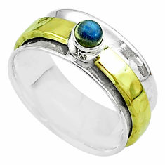 0.50cts victorian labradorite silver two tone spinner band ring size 9 t51828