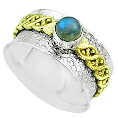 0.95cts victorian labradorite silver two tone spinner band ring size 8.5 t51795