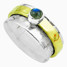 0.47cts victorian labradorite silver two tone spinner band ring size 7.5 t51824