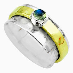 0.50cts victorian labradorite silver two tone spinner band ring size 8.5 t51831