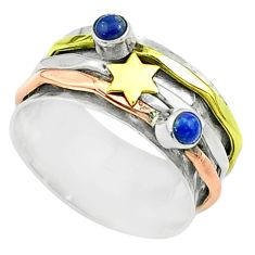 Victorian lapis lazuli 925 silver two tone spinner band ring size 8 t51565