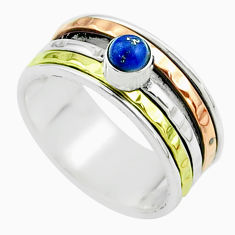 Victorian lapis lazuli 925 silver two tone spinner band ring size 8.5 t51612