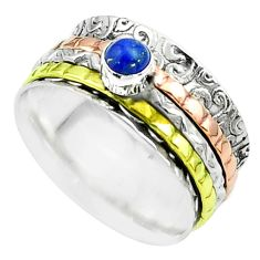 Victorian lapis lazuli 925 silver two tone spinner band ring size 7.5 t51671
