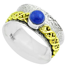 Victorian lapis lazuli 925 silver two tone spinner band ring size 7.5 t51798