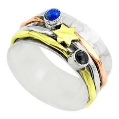 Victorian lapis lazuli onyx 925 silver two tone spinner band ring size 7 t51561