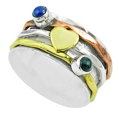0.70cts victorian lapis lazuli silver two tone spinner band ring size 7 t51524