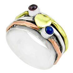 0.72cts victorian lapis lazuli silver two tone spinner band ring size 7 t51529