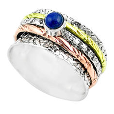 0.50cts victorian lapis lazuli silver two tone spinner band ring size 7 t51644