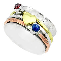 0.71cts victorian lapis lazuli silver two tone spinner band ring size 8 t51537