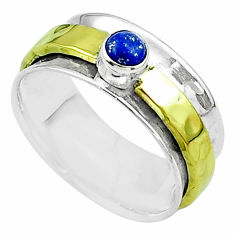 0.49cts victorian lapis lazuli silver two tone spinner band ring size 8 t51832